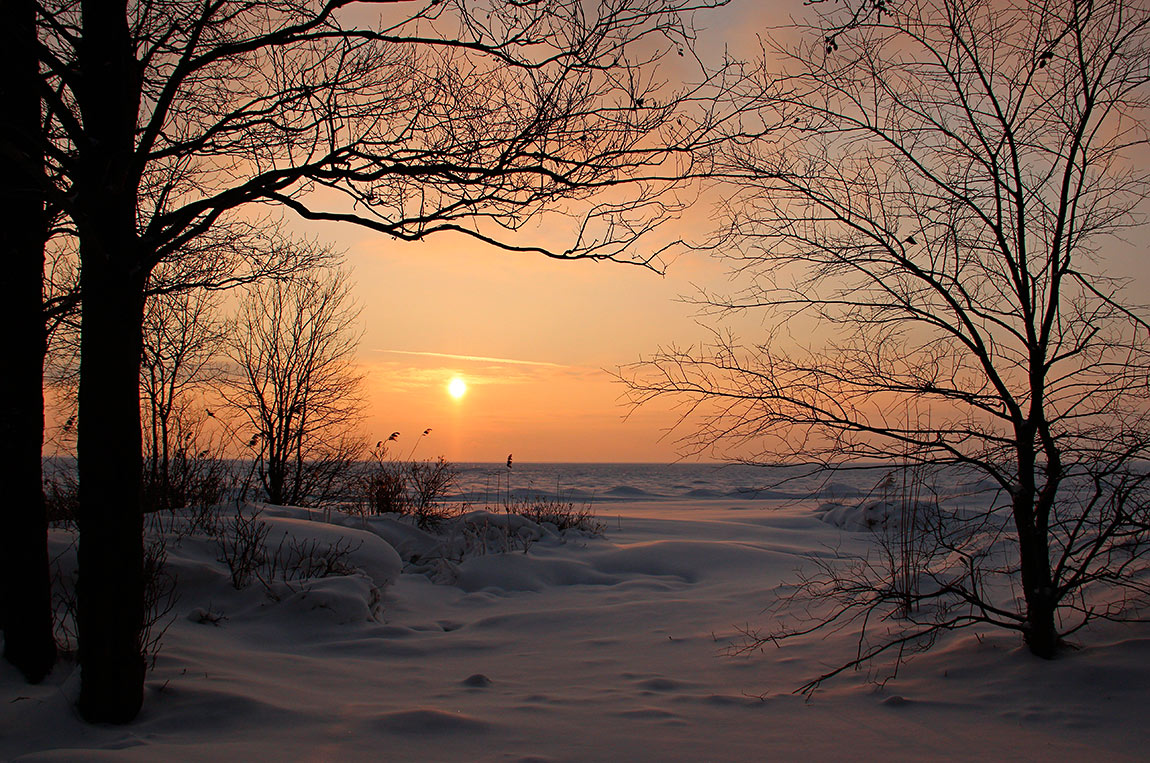 зимний театр убегающего солнца. Автор фото: Байбекова Светлана, г.Санкт-Петербург